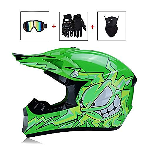 HuAma Casco Motocross da Uomo Casco Cross Monster Verde con Occhiali/Maschera/Guanti Casco Moto Sport ATV MTB Quad Motociclette off-Road Racing Downhill Enduro Cross Casco per Uomo Donna@S
