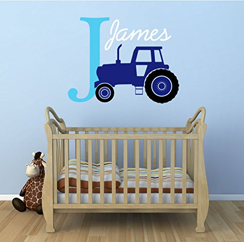 personalizable-nombre-iniciales-y-tractor-kids-premium-vinilo-adhesivo-decorativo-de-pared