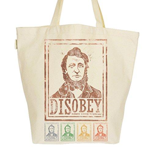 Grand Sac Cabas Fourre-tout Imprimé Toile Bio 37x45x20cm Tote Bag XL - Disobey Henri David Thoreau