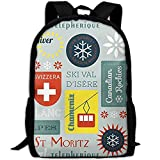 Wfispiy Schnee Retro Ski Abzeichen Casual Laptop Rucksack Schultasche Umhängetasche Travel Daypack...
