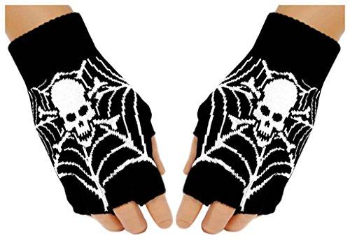 Fingerlose Handschuhe Spinnennetz Totenkopf für Teens (Spinnennetz Fingerlose Handschuhe)