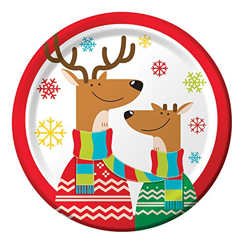Creative Converting 8-count stabile Stil Bluetooth Dessertteller Deer in Schals, Papier, Rentier Spiele, 17,8 cm Cookie Bluetooth