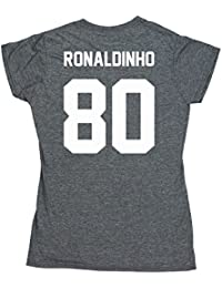2f50b7c0568bd HippoWarehouse RONALDINHO 80 (impreso en la espalda) camiseta manga corta  ajustada para mujer