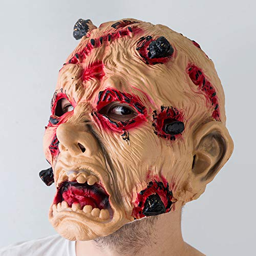Enticerowts Halloweenmaske, gruselig, ungiftig, umweltfreundlich, Vinyl-Gespenst, große Zähne, Kostüm, Cosplay, Party-Requisiten - Halloween Gespenst Piraten Kostüm