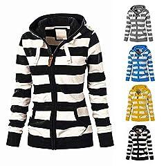 94a6a6c2e9264e Womens Hoodies Toamen Clothes Sale Clearance Stripe Zipper Ca ... by Women's  Tops