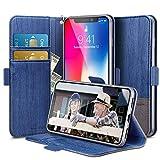 ESR Coque iPhone XS/X Bleu, Coque à Rabat Portefeuille en Cuir PU avec Fente pour...