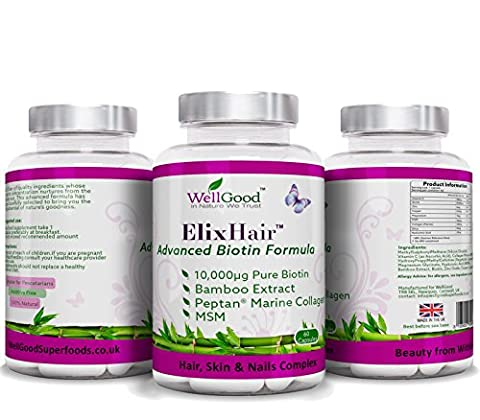 Best Hair Growth Vitamine Produkte ELIXHAIR - Biotin + MSM + Silica + Kollagen + (Vita Biotina)