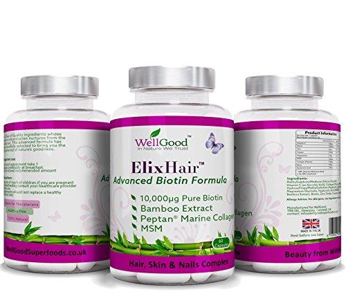 Maximale Trockene Haut-formel (Best Hair Growth Vitamine Produkte ELIXHAIR - Biotin + MSM + Silica + Kollagen + Hyaluronsäure - Maximum Strength 10.000 mcg reines Biotin - Advanced Formula mit hoher Qualität Vitamine, Mineralien, Nährstoffe & Aminosäuren für Dickere, längere Lusious Haar, Radiant Skin & schöne Nägel ! Haarausfall hilft stoppen, Haare wachsen schnell, natürliche & Additive Kostenlose | 2 Monate liefern! ElixHair von WellGood)