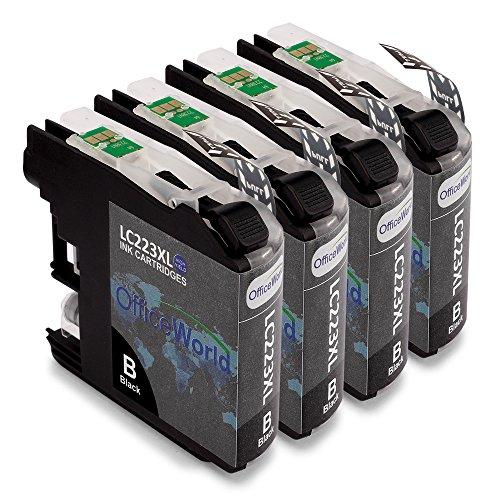 Preisvergleich Produktbild OfficeWorld Ersatz für Brother LC223 XL Schwarz Tintenpatronen Hohe Kapazität Kompatibel für Brother DCP-J4120DW J5620DW MFC-J480DW J680DW J880DW J4420DW J4620DW J4625DW J5320DW J5620DW J5625DW J5720DW Drucker, Packung mit 4 Stück