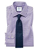 Bügelfreies Extra Slim Fit Hemd in Lila mit Gingham-Karos Knopfmanschette