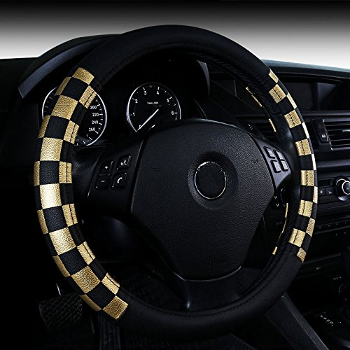 Unisex Grid Style Mikrofaser Leder Auto Auto Lenkradabdeckung Universal 38cm