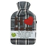 UMOI Öko Wärmflasche 2 Liter mit hochwertigem Fleece Bezug Home mit Herzchen BS1970:2012 zertifiziert