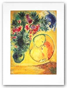 """Soleil et Mimosa by Marc Chagall """"x17.75 24,5 cm Art Poster Print"""