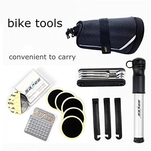 OUTERDO 7 in 1 Multi-Function Bike Bicycle Repair Tool Kit Mini Hose Pump Set with Tail Package Bag