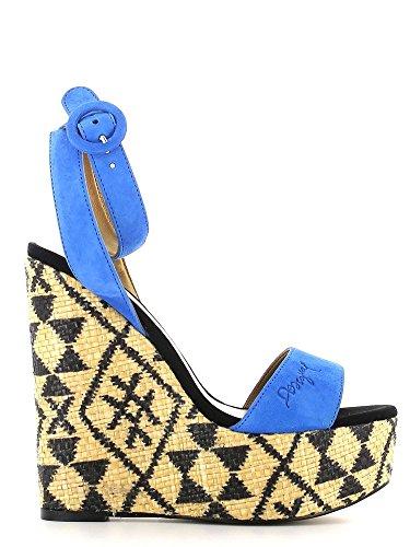 Desigual 51SS2T1 Sandales compensées Femmes Bleu