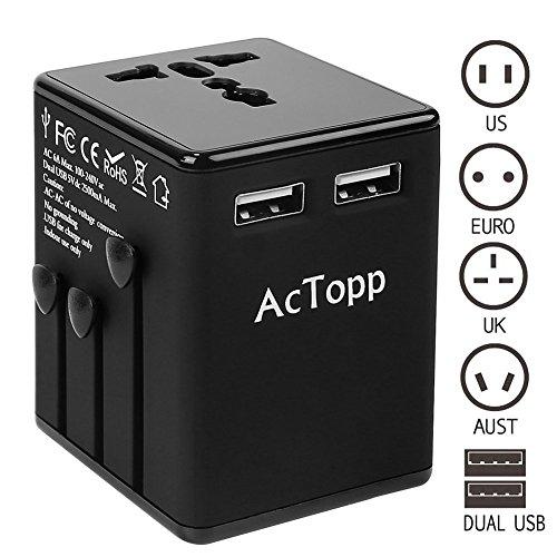 AcTopp Reiseadapter mit Dual USB Anschlüssen Universal Netzadapter Weltreiseadapter Reisestecker für Weltweit Reise EU UK USA AU und andere Länder Schwarz