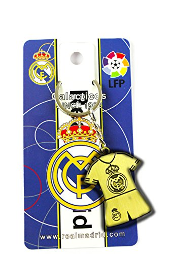 eshoppee real madrid tshirt antique gold metal keychain for car and bikes