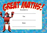 16 A6 Great Maths Teachers School Nursery Reward Certificates Home Notes Card Children