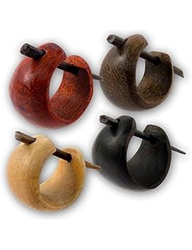 Fly Style® - 1 Paar - Kleine Holz Creolen aus verschieden Hölzern