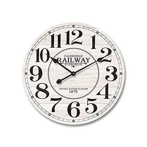 Rebecca mobili orologio da muro cucina, legno mdf metallo, design vintage, tondo, cucina sala - diametro 50 cm x p 4,5 cm - art. re4979