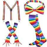 Damen Kniestrümpfe - Overknee Strümpfe Streifen Lange Socken Retro Knitting Strümpfe Mädchen Cheerleader Sportsocken Baumwollstrümpfe, Durchschnittlicher Code, Regenbogen B