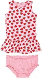 LUPILU® Baby Mädchen Sommerkleid mit Höschen, reine Baumwolle (rosa Melone, Gr. 62/68)