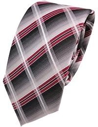 Krawatte Seide Schicke Seidenkrawatte rot himbeerrot schwarz grau gestreift