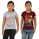 Harday Girls Grey Maroon Cotton Tops(Pack of 2)