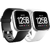 Bracelet pour Fitbit Versa, HUMENN Bande en TPU Silicone Souple de Remplacement Ajustable Sport Accessorie pour Fitbit Versa Montre Wristband Petit Noir, Blanc