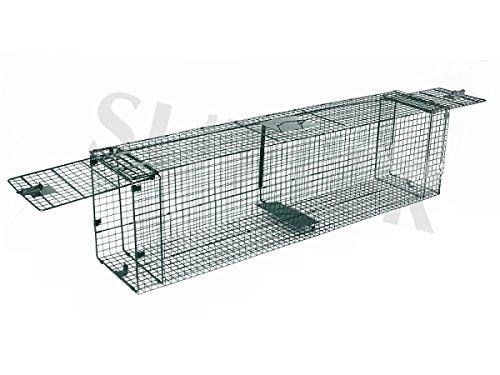 Preisvergleich Produktbild Drahtkastenfalle und Lebendfalle 150x30x40cm Zusammenklappbar / Mit zwei Eingängen / Tierfalle Marderfalle Fuchsfalle Drahtfalle