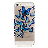 Coque iPhone 5 5S 5G / iPhone SE, Anlike Etui Silicone Gel / Housse / Protection Full Silicone Souple Ultra Mince Transparente Souple Coque De Protection - groupe de papillons