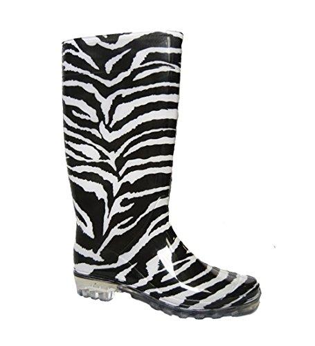 Damen Gummistiefel für Schnee und Regen und fürs Festival- Größe: 40 EU/7 UK,Zebra (Schnee 8 Damen Größe Stiefel)
