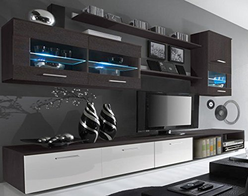 SelectionHome - Salón Moderno, Comedor con Luces Leds, Acabado en Blanco Brillo...