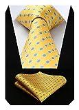 Hisdern Extra long Polka Dots Cravate Mouchoir Cravate des hommes & Carre de poche Set bleu jaune