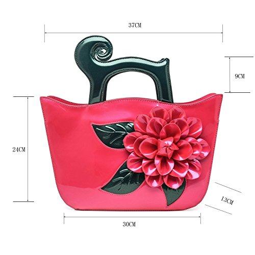 KAXIDY Lack-Leder Handtasche Mode Umhängetasche Tasche Schultertaschen Rosa-Rot