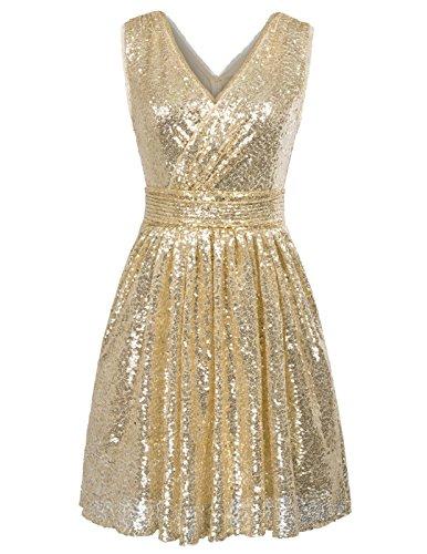 Damen Homecoming Kleid Abendkleid Knielang Gold 46