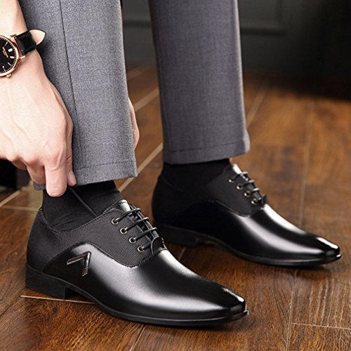 Feidaeu Hommes Chaussures Ville Lacet Grand Taille Pure Couleur PU Cuir Lisse Slip-on Pointu Loisir Souliers Derby Noir