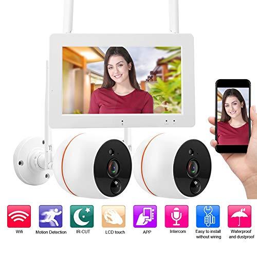 LCD Wireless WiFi Sicherheit 4 Kanal Quad Sicherheitssystem DVR mit 2 CCTV Kameras Überwachungskamera mit Speicherkarte, Unterstützung für Bidirektionale Sprache, Gegensprechanruf usw.(EU) - Wifi-sicherheits-kameras Dvr Mit