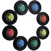 Posavasos estilo retro en forma de vinilo de Keeping One®, silicona negra, 8 unidades