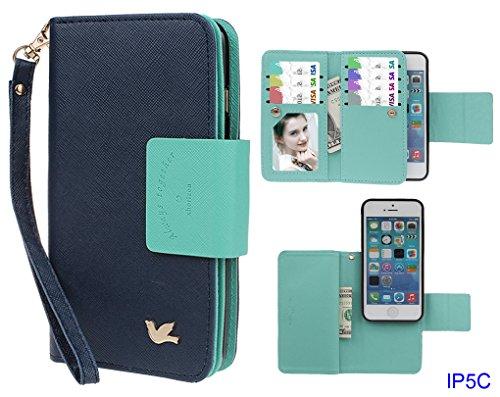 Hülle für iPhone 5C, xhorizon FX Prämie Leder Folio Case [Brieftasche] [Magnetisch abnehmbar] Uhrarmband Geldbeutel Flip Vogel Tasche Hülle für iPhone 5C mit 9H Hartglas Displayschutzfolie Marineblau