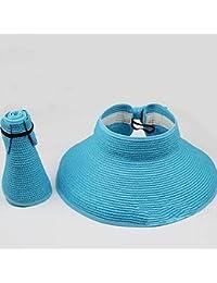 spritech (TM) Kinder Beach faltbar Hut Strohhut breit Krempe aufrollbare Sonnenblende, himmelblau, Einheitsgröße