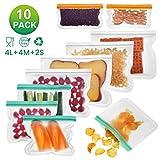 10 pcs Sac de Conservation Nourriture Réutilisables Godmorn, Récipient de Conservation pour légumes, sandwichs, Viande, etc pour Une Bonne Conservation au réfrigérateur, Sac à lunch ziplock.