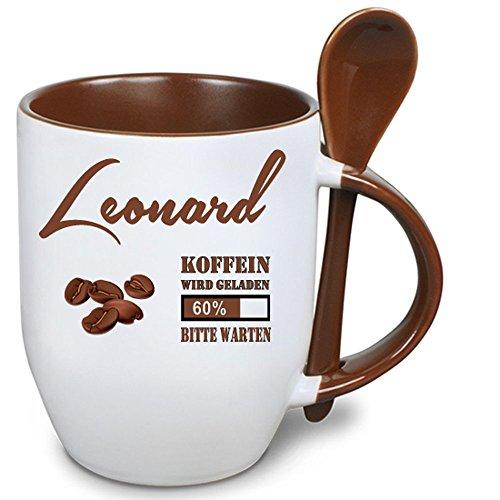 Löffelbecher Braun + WM Tasse Leonard. Mit Keramiklöffel 2 Tassen 1 Preis. Siehe auch Produktbild 2.
