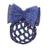 WALDHAUSEN Haarnetz mit Schleife+Spange, Pailletten, blau (VE3), blau
