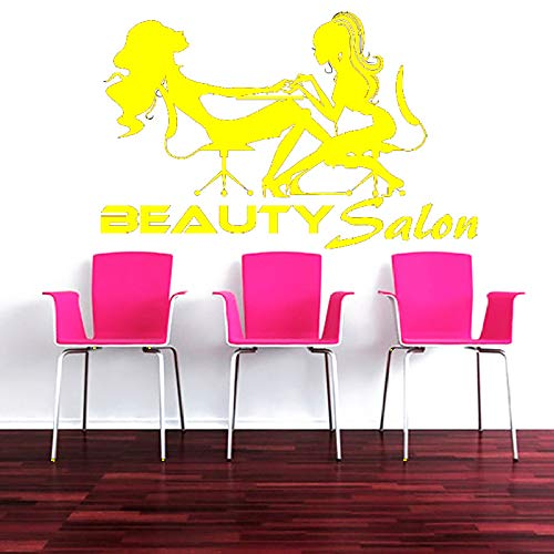 Zaosan Pediküre Wandapplikation schöne Salon Serie Wandaufkleber Friseurladen Zwei Frauen Nagel Maniküre Wandbild Beauty Salon Dekoration gelb 57x89cm