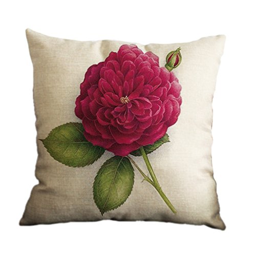 NO.1 COFFEE & TEA PRODUCTS NUNUBEE COTTON LINEN CUSHION COVER 18X18 PILLOWCASE THROW PILLOW CASE SOFA DECORATION FLOWERS 3 BEST BUY REVIEWS UK