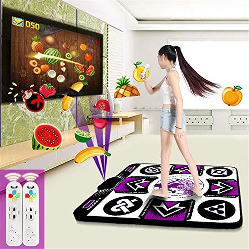QINAIDI Kabellose Tanzmatte, somatosensorische Single-Player-TV-Tanzmaschine mit Zwei Griffen (Waffel-pad)