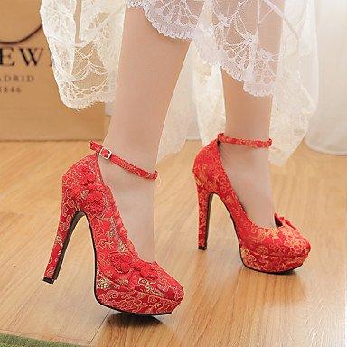 Moda Donna Sandali Sexy donna tacchi Primavera / Autunno Round Toe Suede Wedding Stiletto Heel Bowknot rosso altri Red