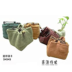 GENERIC Retro Wind Cup Bag Drawstring Cotton Hemp Bag Travel Tea Portable bags Dust Bags Containing Tea Vintage Pattern Chinese Kung Fu
