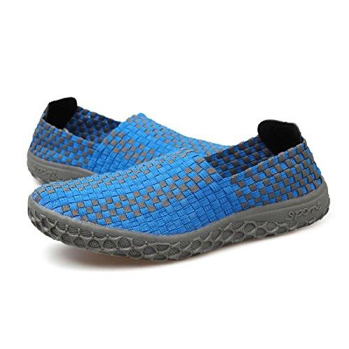 Uomo Scarpe casual Estate Moda portatile traspirante Tessere sandali Blue